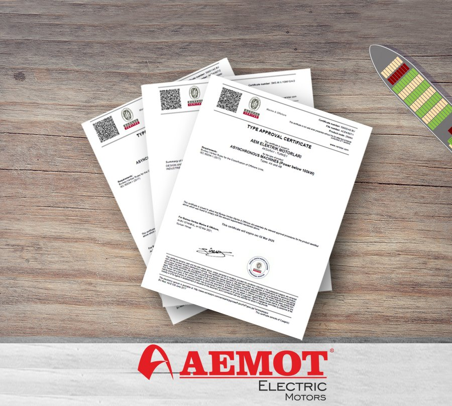 AEMOT Electric Motors Achieved Bureau Veritas Certification Within The Scope Of Marine & Offshore